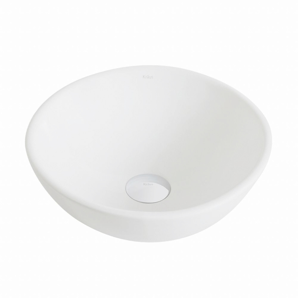 Fancy Kraus Elavo Small Round Ceramic Vessel Bathroom Sink In White-Kcv inside Bathroom Sink Small