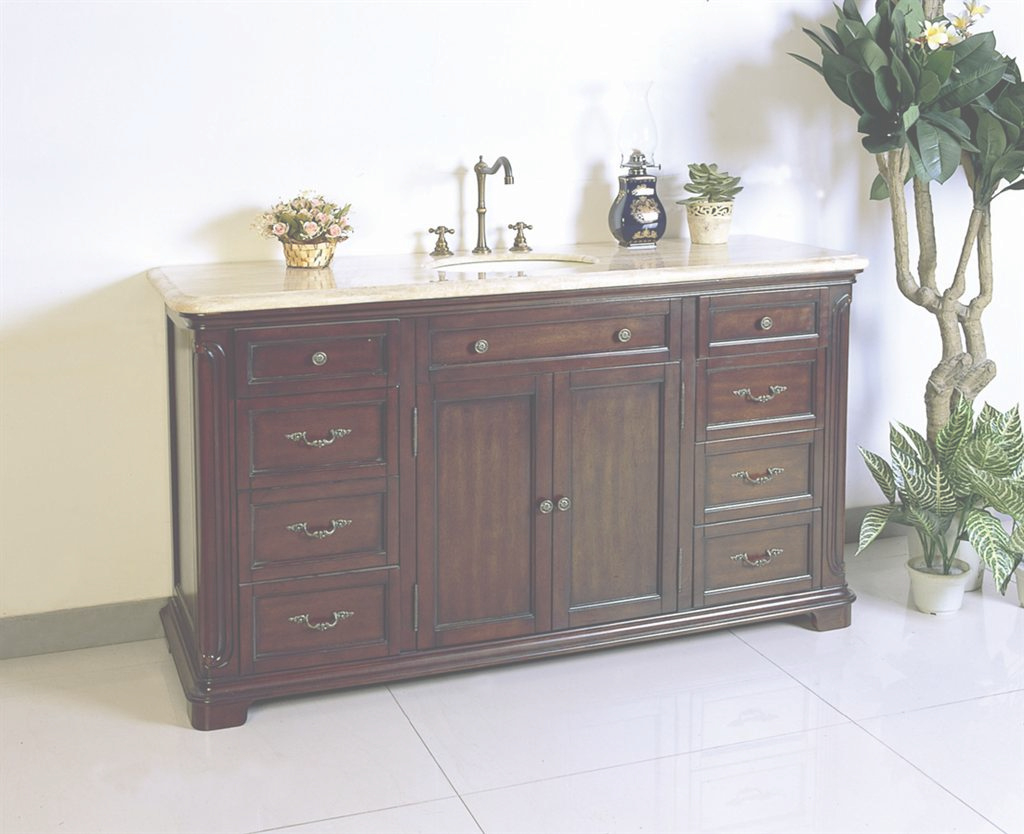 Fancy Legion W5428-11-60 Dark Cherry Brown Single Sink Vanity With A with Luxury 60 Inch Single Sink Bathroom Vanity