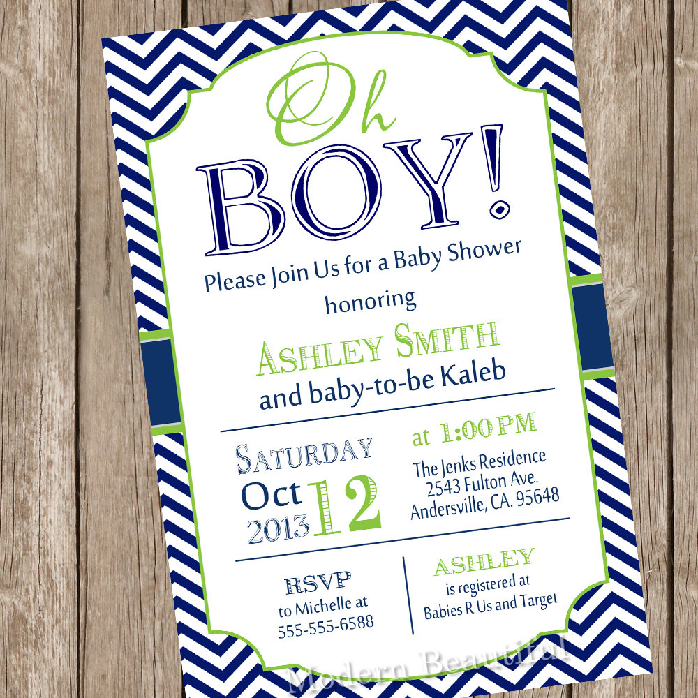 Fancy Like This Item Oh Boy Baby Shower Invitation Navy And Lime Green inside Baby Boy Baby Shower Invitations