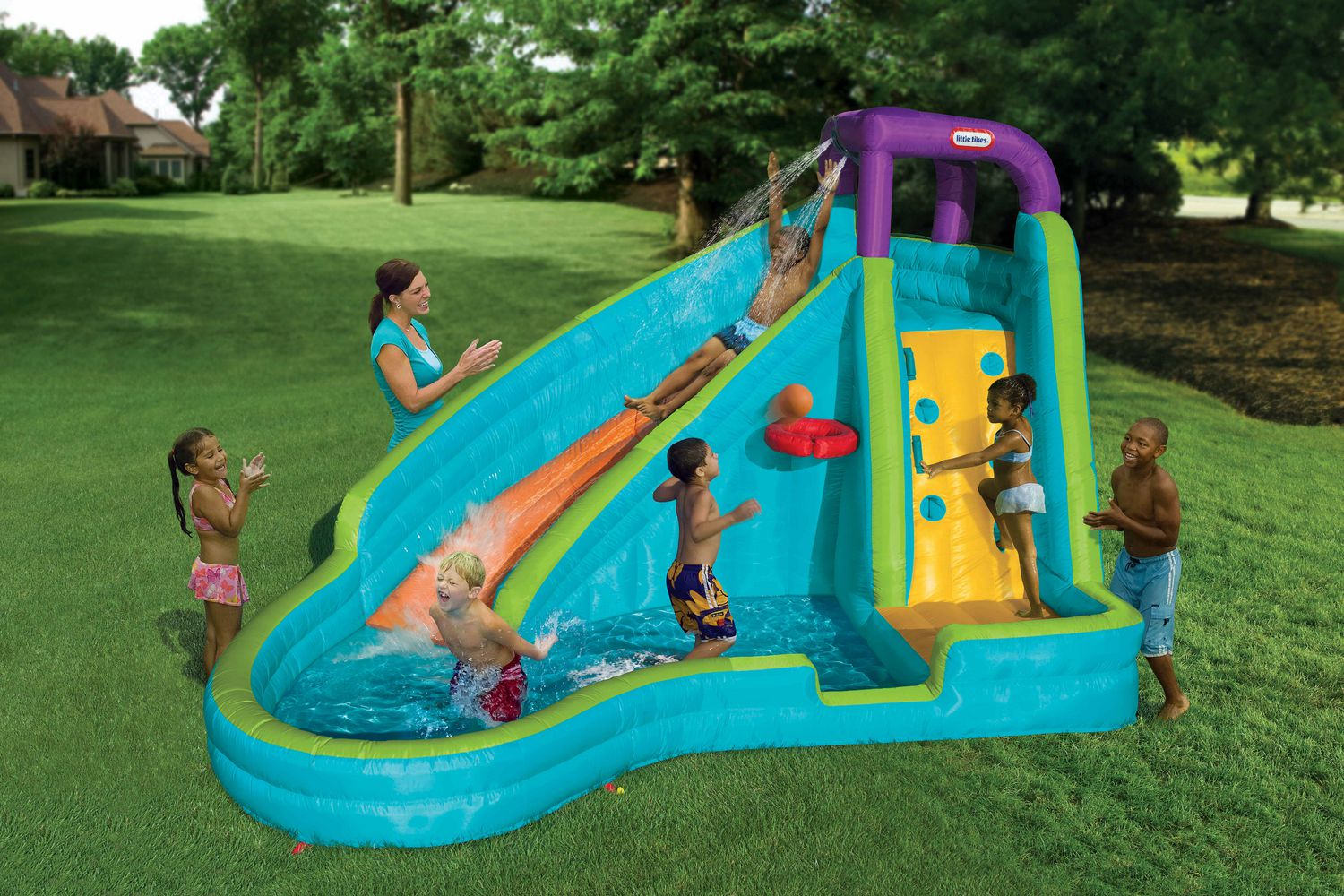 Fancy Little Tikes Outdoor Inflatables Slam 'n' Curve Water Slide regarding Lovely Backyard Inflatables