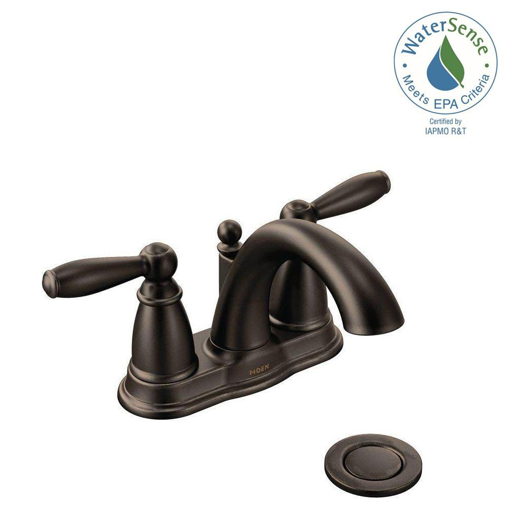 Fancy Moen Brantford 4 In. Centerset 2-Handle Low-Arc Bathroom Faucet In pertaining to Oil Rubbed Bronze Bathroom Sink Faucet