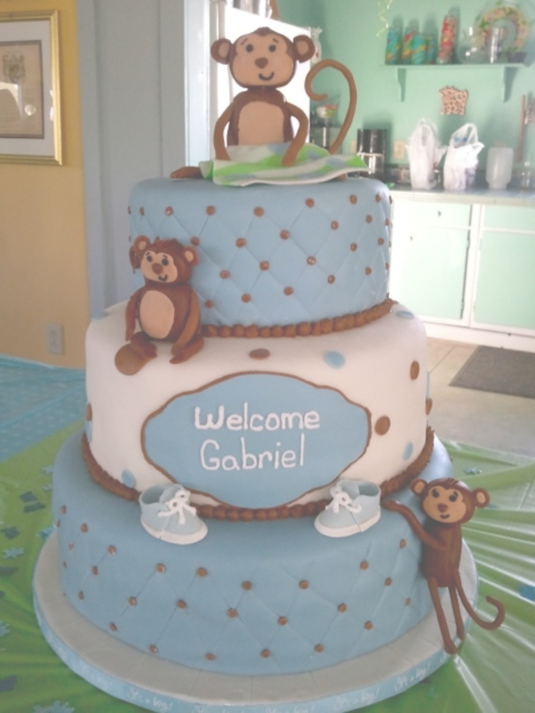 Fancy Monkey Boy Baby Shower Cake - Cakecentral pertaining to Baby Shower Monkey Cakes