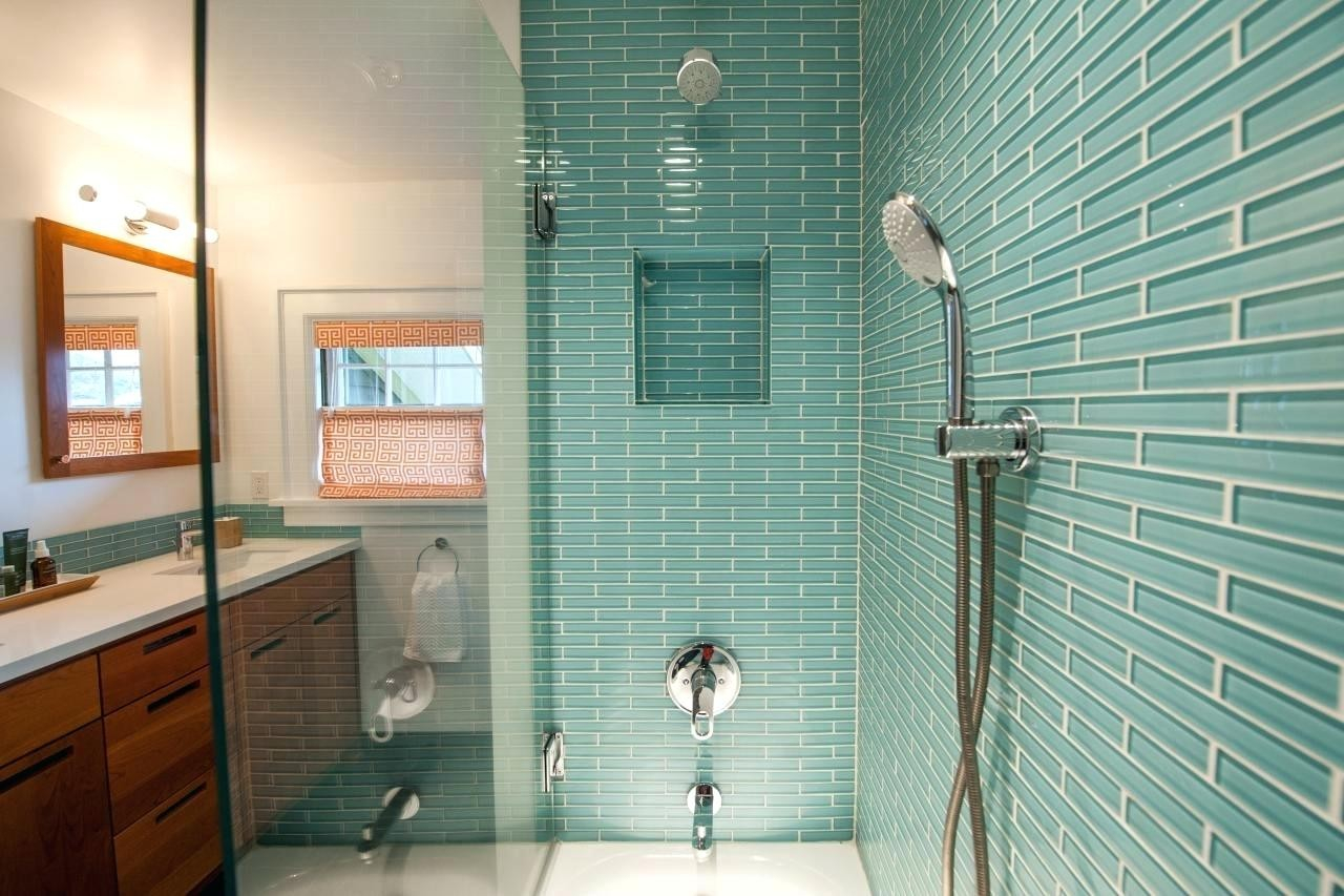 Fancy New Blue Glass Tiles Bathroom - Kezcreative throughout High Quality Blue Glass Tile Bathroom