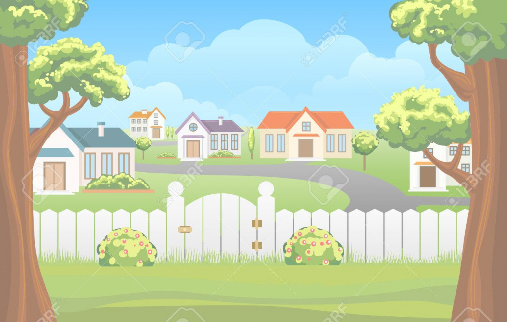 Fancy Outdoor Backyard Cartoon Vector Illustration Royalty Free Cliparts pertaining to Backyard Cartoon