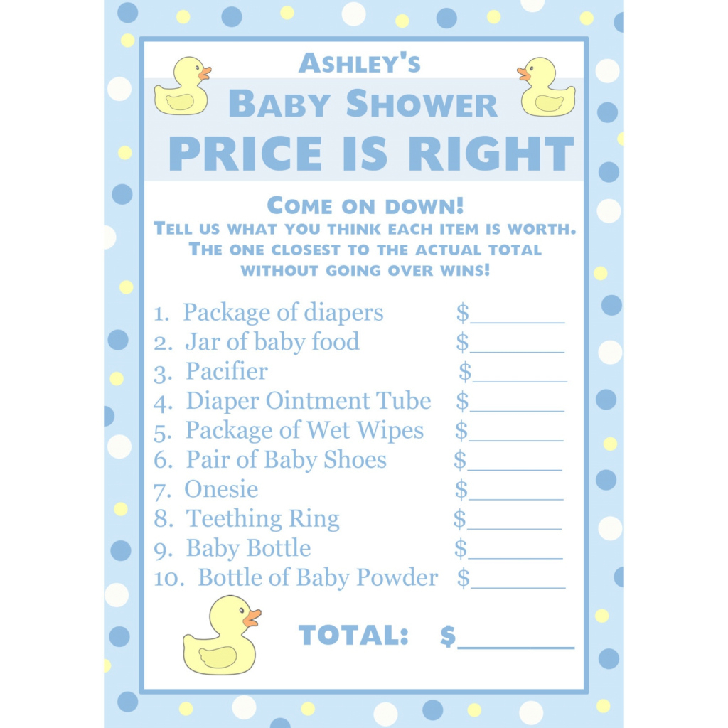 Fancy Printable Price Is Right Baby Shower Game Template Allowed intended for Beautiful Baby Shower Price Is Right
