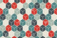 Fancy Repeated Retro Color Cubes Background. Geometric Shapes Wallpaper in Color Pattern Design