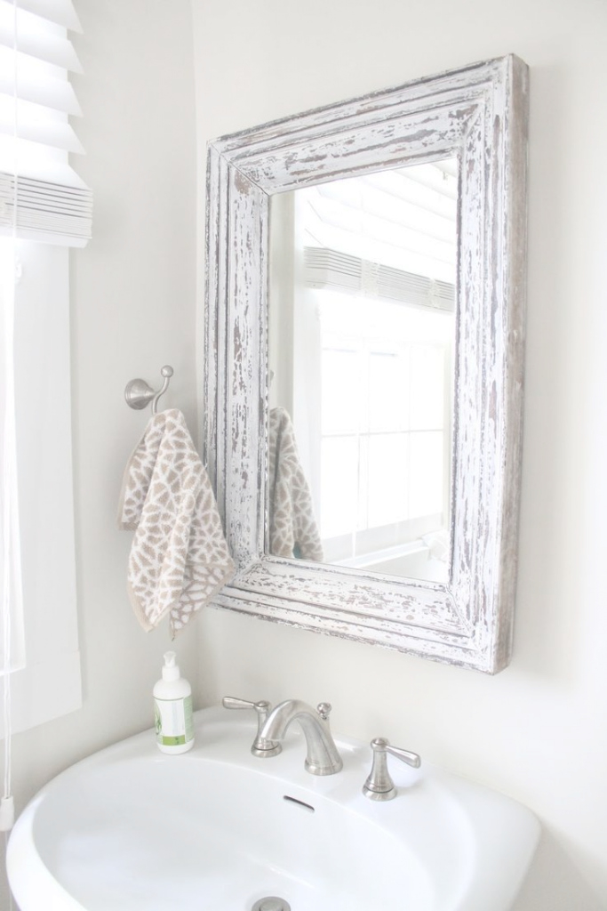 Fancy Rustic Bathroom Mirror Use Molding And Distress To Frame Out Mirror in Unique Beautiful Bathroom Mirrors