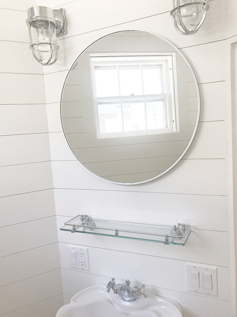 Fancy Ship Lap Bathroom, Powder Room, Nautical Wall Sconces, Round Mirror throughout Awesome Nautical Mirror Bathroom