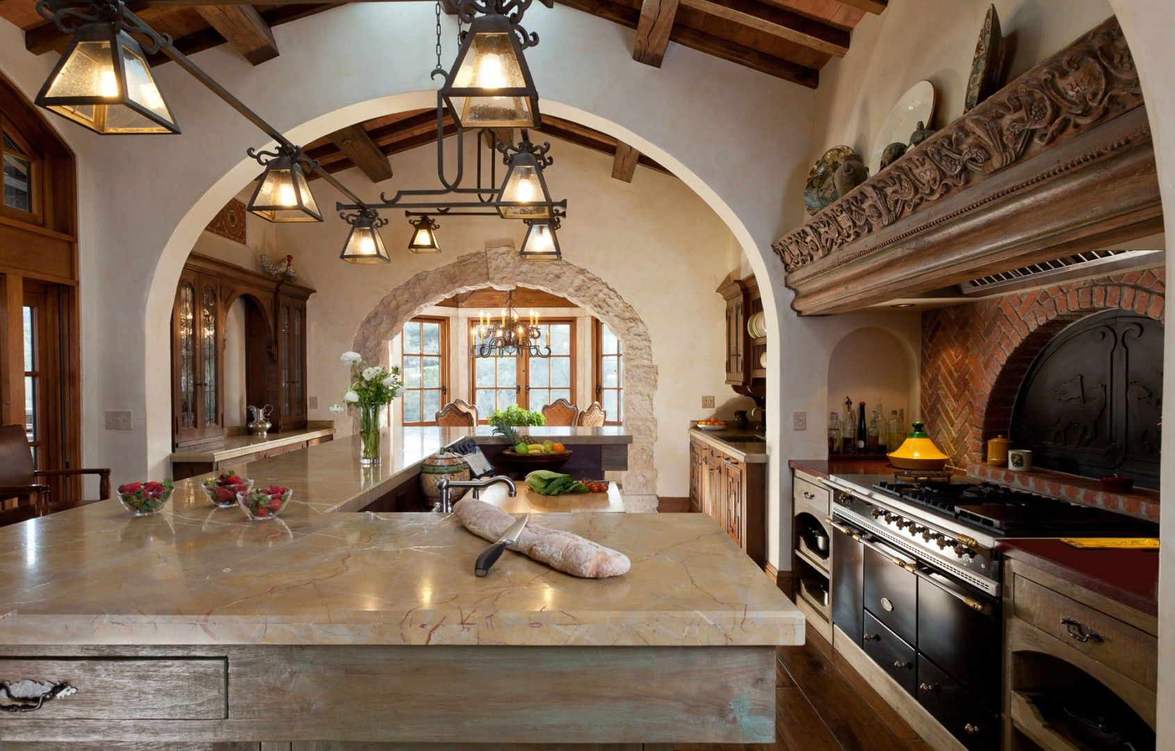 Fancy Spanish Colonial - Hacienda Style Kitchen And Gathering Room with Beautiful Colonial Kitchen Design