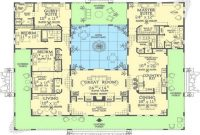 Fancy Spanish Hacienda Style Courtyard House Plans Mexican With Center 1 intended for Review Hacienda House Plans Center Courtyard Image