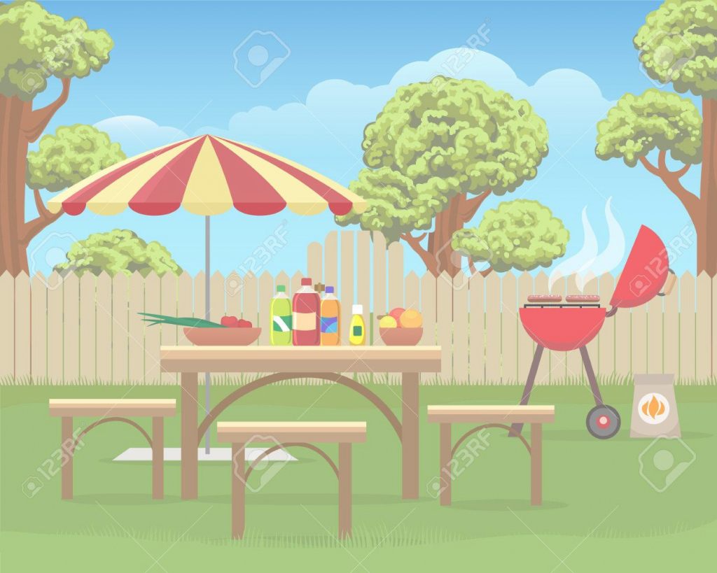 Fancy Summer Backyard Fun Bbq Or Grilling Barbecue Party Cartoon Vector for Fresh Backyard Cartoon