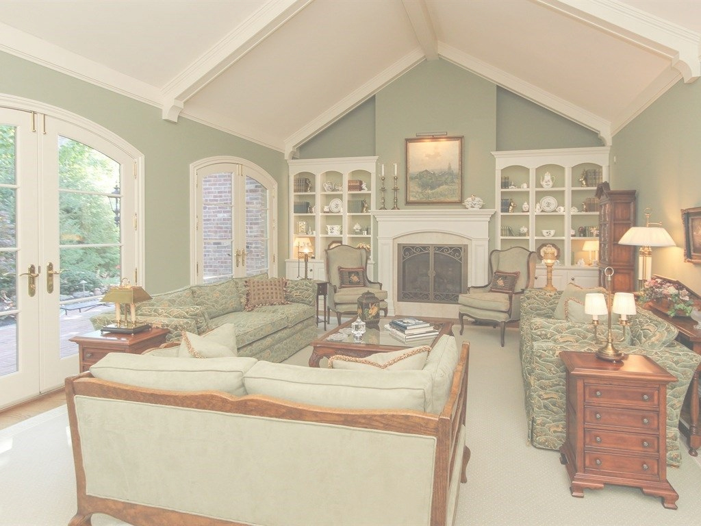 Fancy Traditional Living Room With Built In Bookshelf Cathedral Ce Vaulted pertaining to Lovely Vaulted Ceiling Living Room