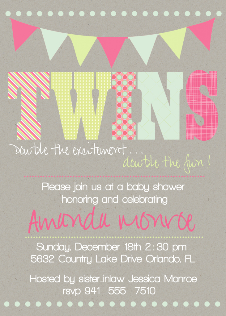 Fancy Twin Baby Shower Invitations To Inspire You How To Make Your With within Beautiful Baby Shower Invitations For Twins