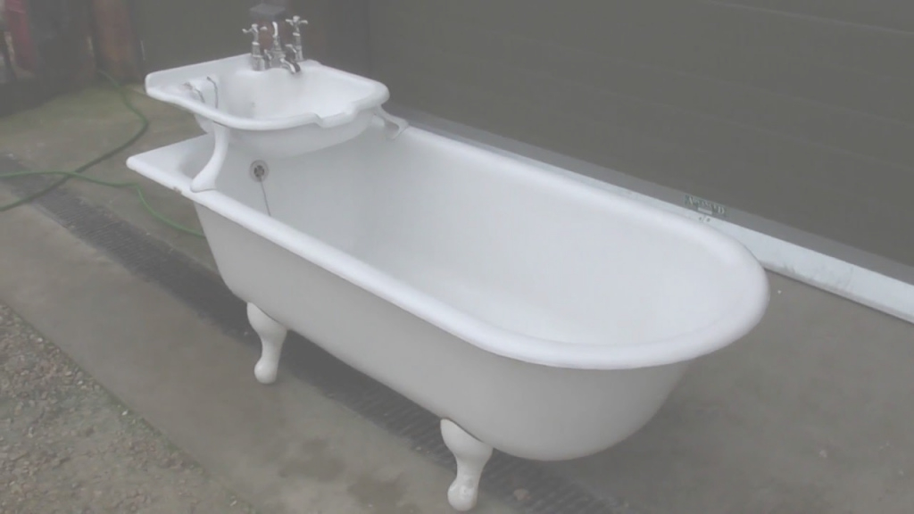Fancy Unique Antique Reclaimed Cast Iron Bath With Built In Sink with regard to Luxury Cast Iron Bathroom Sink