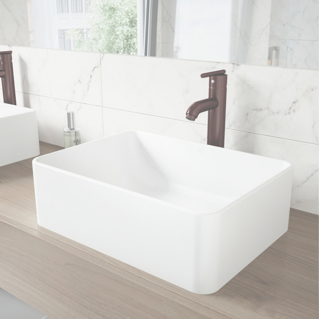 Fancy Vigo Amaryllismatte Stone Vessel Sink And Seville Bathroom Vessel pertaining to New Bathroom Vessel Sinks