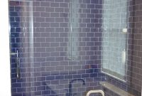 Fancy Walk In Shower With Cobalt Blue Glass Tiles. | Bathroom Renovations regarding Blue Glass Tile Bathroom