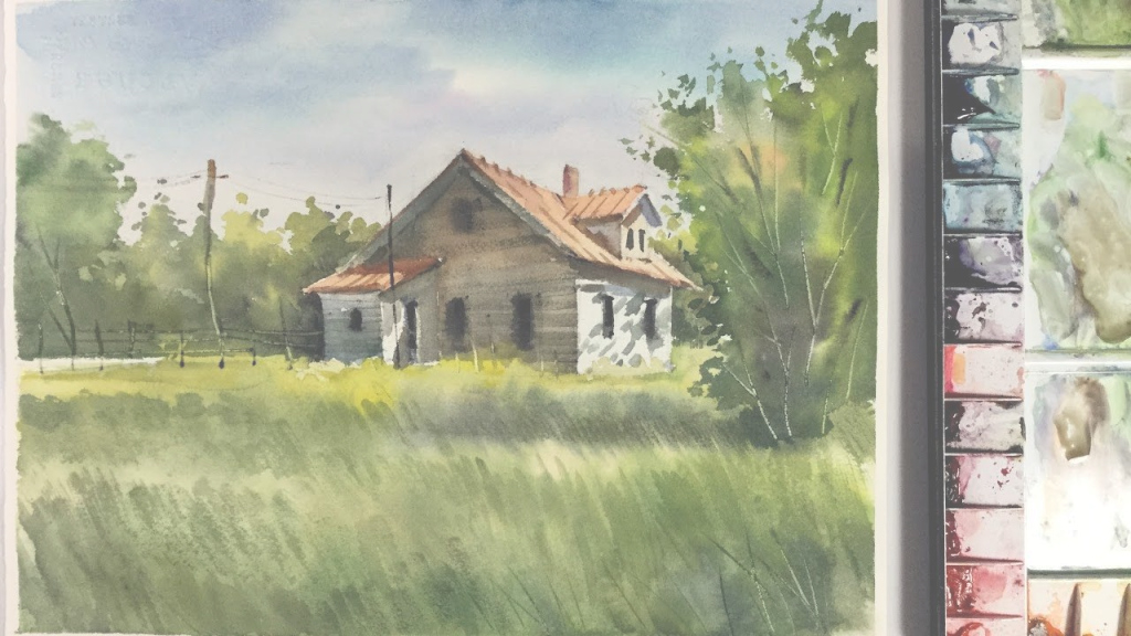 Fancy Watercolor Landscape Painting : Little House In The Meadow | Art throughout Landscape Painting Techniques