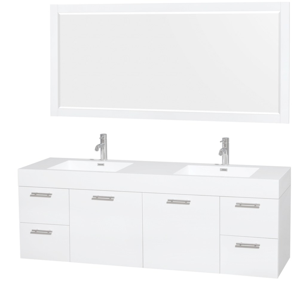 Fancy Wyndham Collection 72 Inch Double Bathroom Vanity In Glossy White regarding 70 Inch Bathroom Vanity