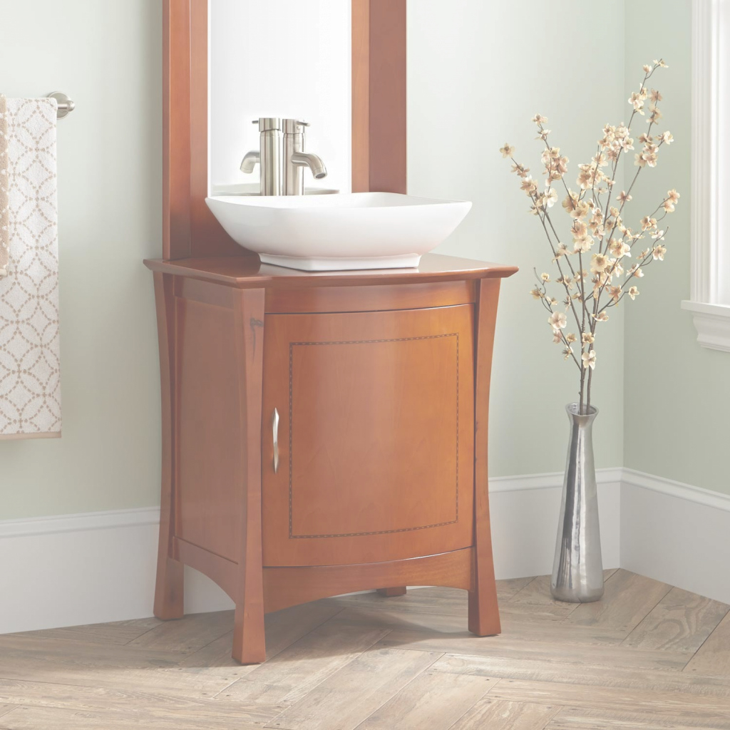"Glamorous 24"" Frisco Vessel Sink Vanity With Mirror - Bathroom in Beautiful 24 Bathroom Vanity And Sink"