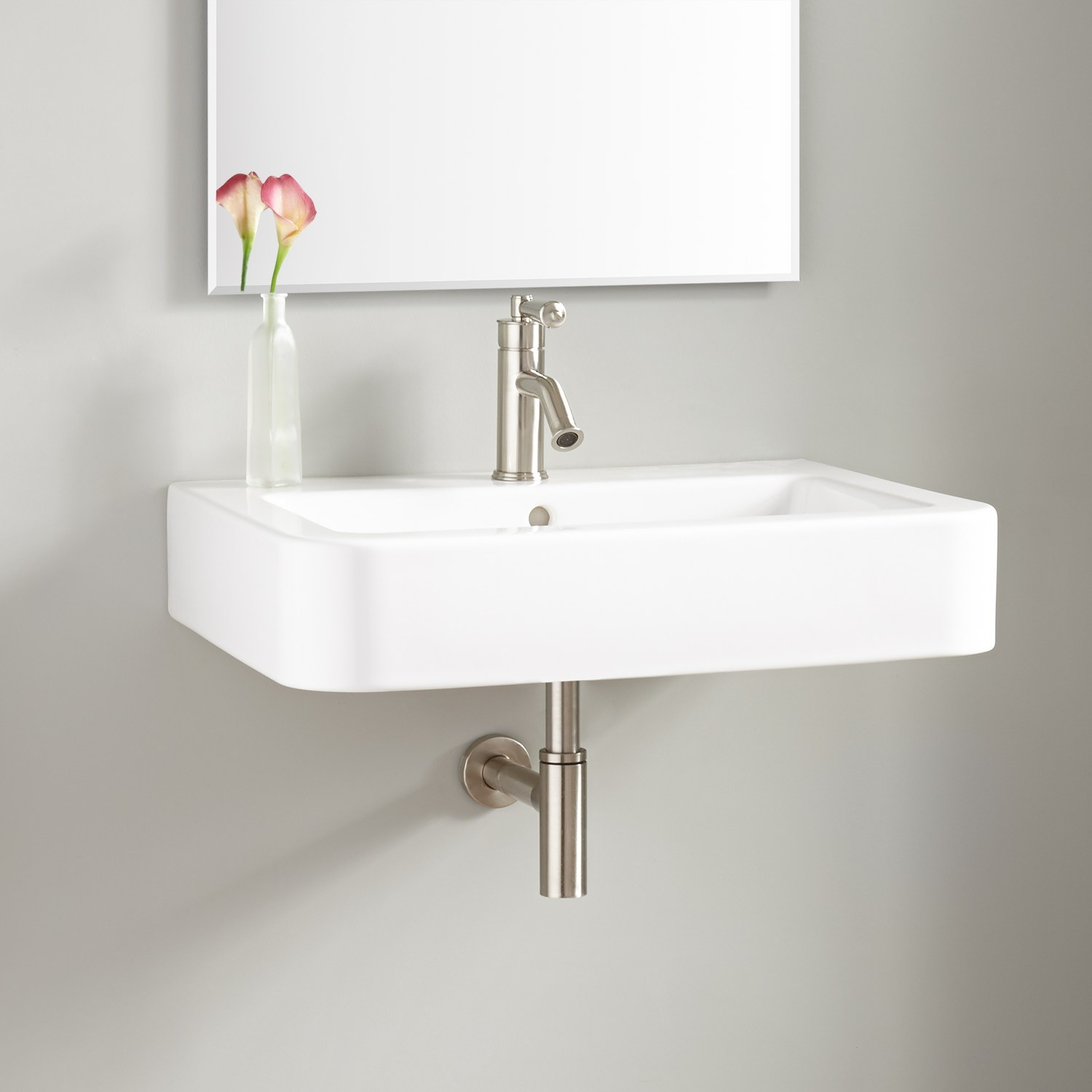"Glamorous 26"" Burleson Porcelain Wall-Mount Sink - Bathroom inside Small Bathroom Sinks Wall Mount"