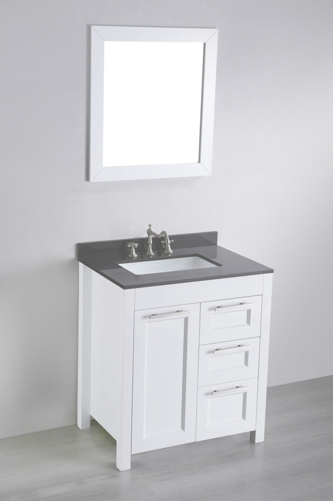 Glamorous 30 Inch White Contemporary Single Bathroom Vanity Black Granite Top regarding New Small White Bathroom Vanity