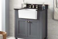 "Glamorous 30"" Nellie Farmhouse Sink Vanity – Dark Gray – Bathroom throughout Good quality Bathroom Farm Sink Vanity"