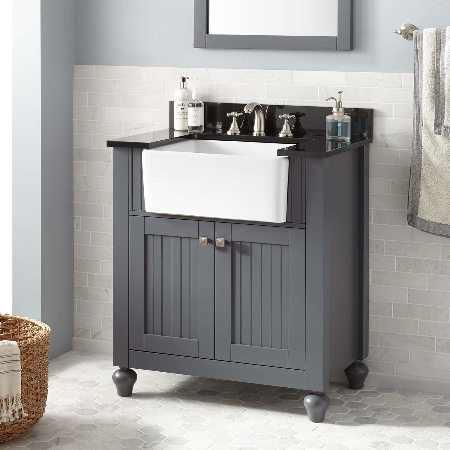 "Glamorous 30"" Nellie Farmhouse Sink Vanity - Dark Gray - Bathroom throughout Good quality Bathroom Farm Sink Vanity"