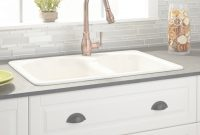 "Glamorous 33"" Cayton 70/30 Offset Double-Bowl Cast Iron Drop-In Kitchen Sink throughout Luxury Cast Iron Bathroom Sink"