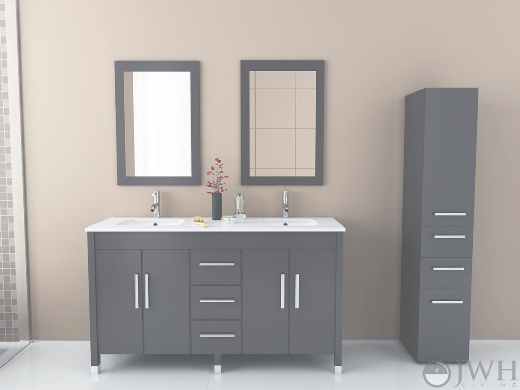 "Glamorous 59"" Sirius Double Under Mount Sink Vanity - Espresso - Bathgems intended for Luxury 59 Inch Bathroom Vanity"