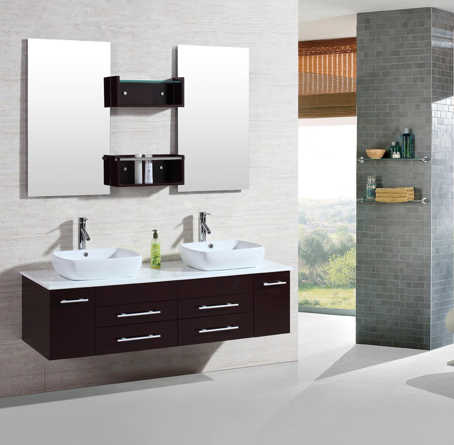 "Glamorous 60"" Modern Bathroom Double Vanities Cabinet Floating Vessel Sink W with Unique Bathroom Double Sink Cabinets"