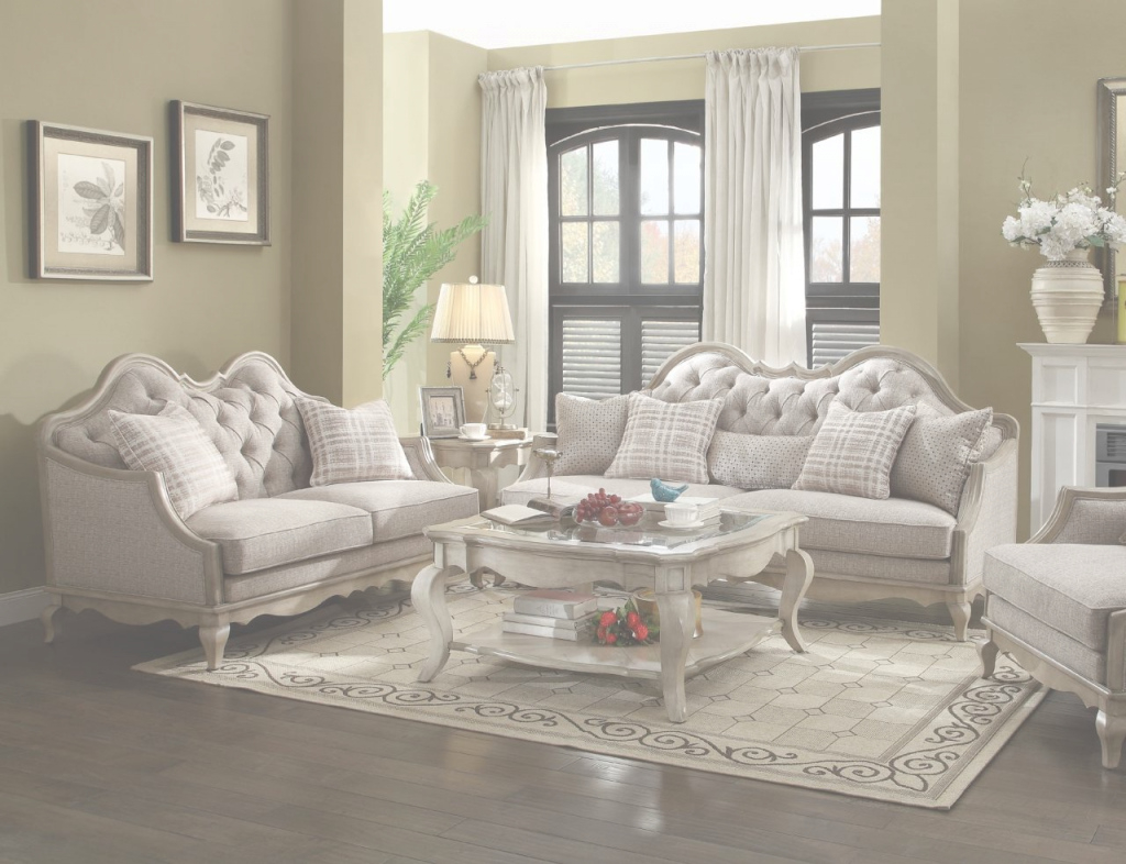 Glamorous Acme Chelmsford 2-Piece Fabric Living Room Set In Beige with Elegant Beige Living Room Set
