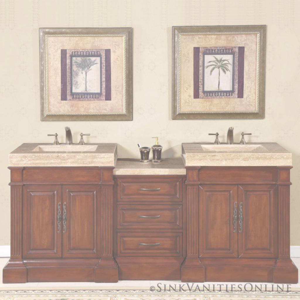 Glamorous Adelina 70 Inch Antique Double Bathroom Vanity Cream Marble Counter with regard to 70 Inch Bathroom Vanity