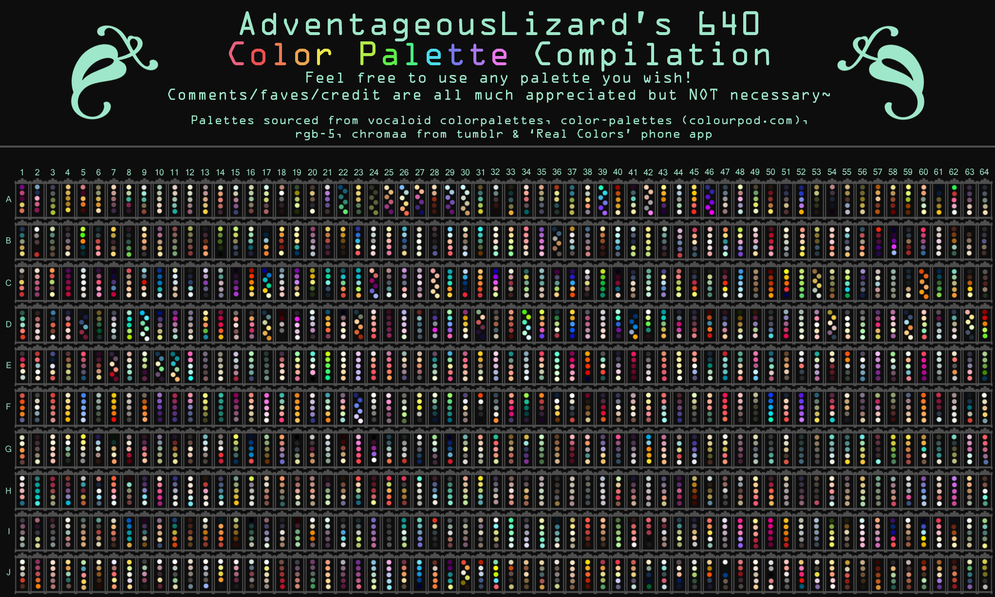 Glamorous Adventageouslizard's 640 Color Palette Compilation regarding Color Palette Meme