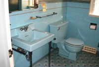 Glamorous Alice's Blue 50S Bathroom – Retro Renovation for Unique Blue Bathroom Remodel