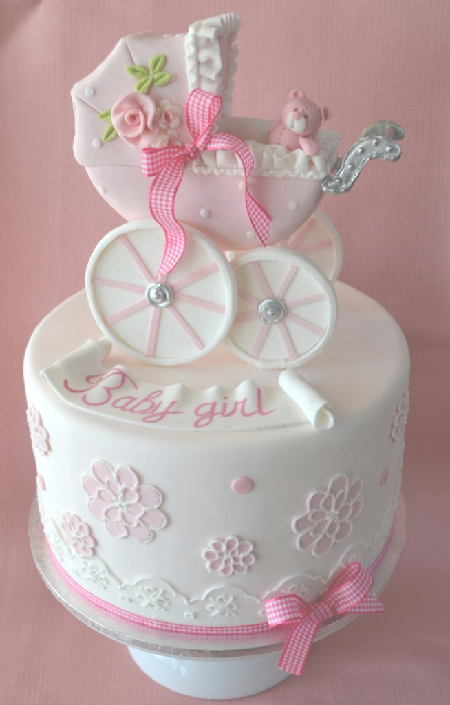 Glamorous Baby Girl Carriage Baby Shower Cake - Amazing Cake Ideas for Fresh How To Make A Baby Shower Cake