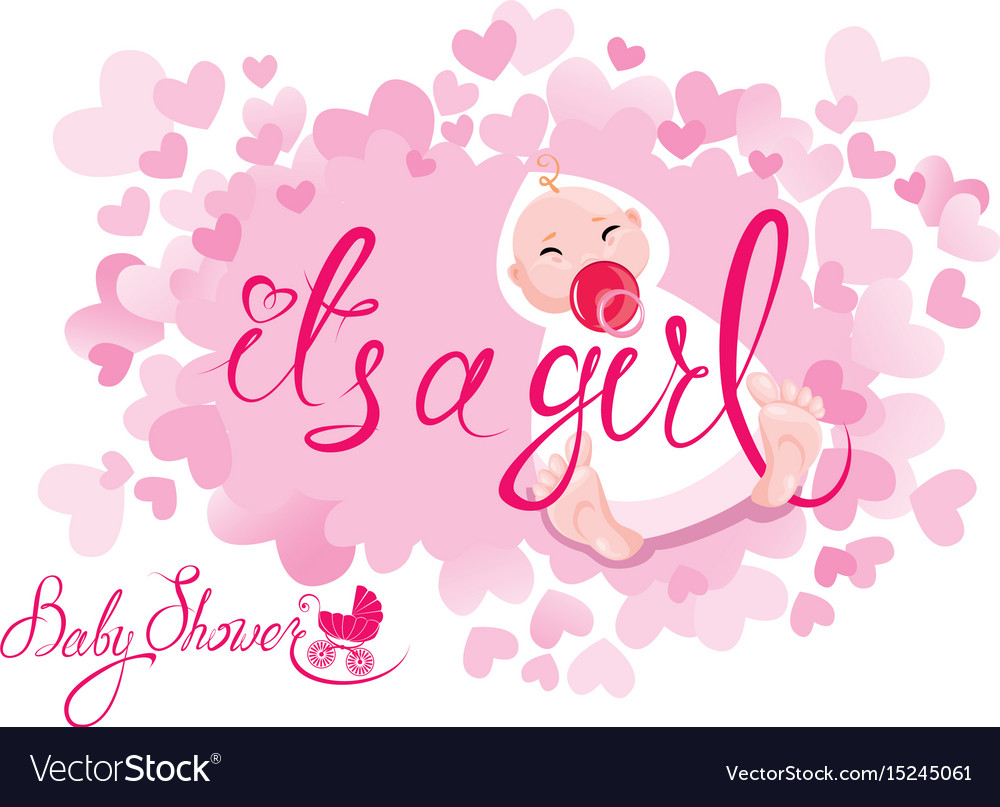 Glamorous Baby Shower Its A Girl Congratulations On The Vector Image throughout Luxury Baby Shower Congratulations