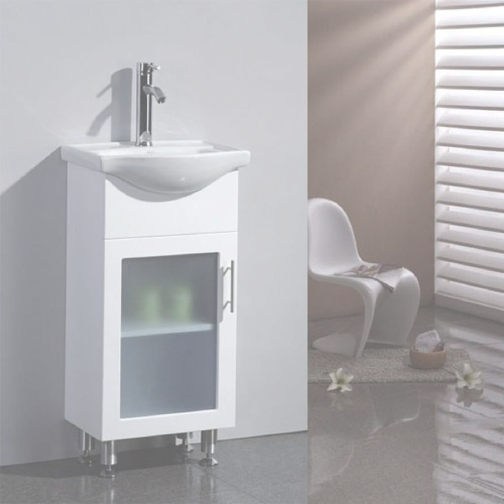 Glamorous Bathroom: Futuristic Small Bathroom Vanities Beside Large Window inside Vanities For Small Bathroom
