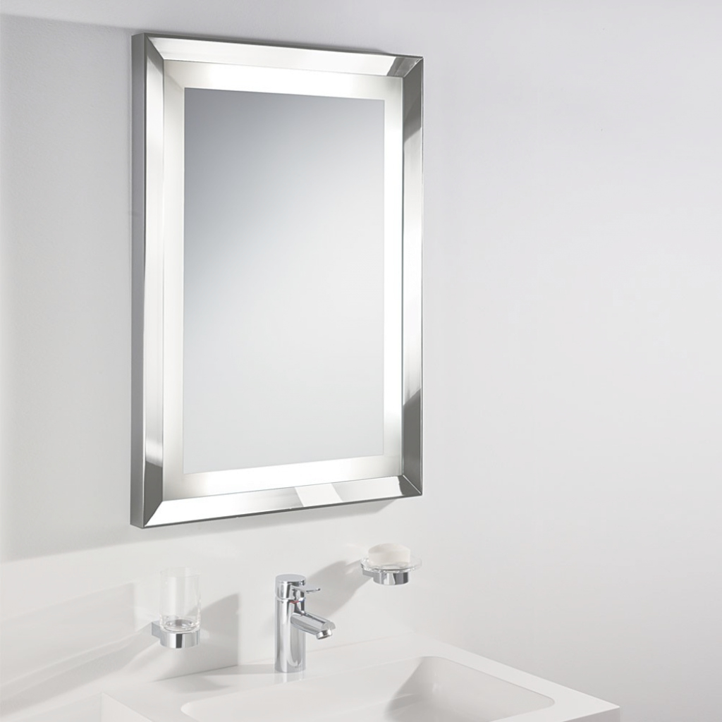Glamorous Bathroom: Silver Framed Illuminated Mirror For Bathroom Wall Mirror within Best of Illuminated Wall Mirrors For Bathroom