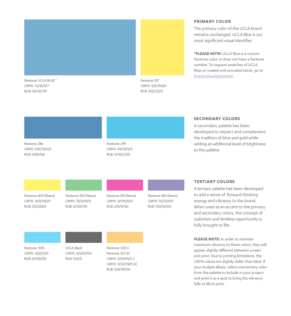 Glamorous Brand Colors – Ucla Brand Guidelines throughout Branding Color Schemes