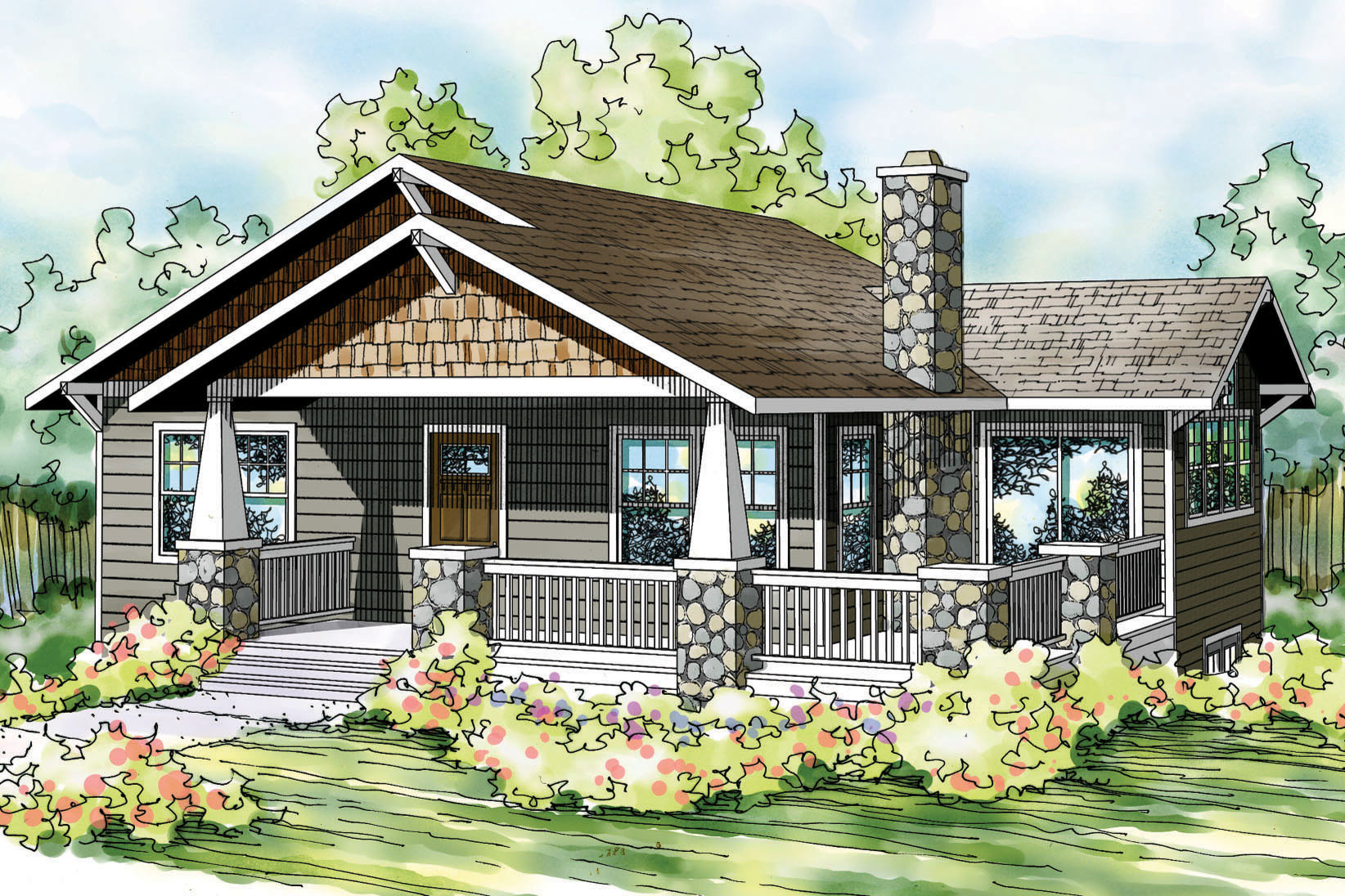 Glamorous Bungalow House Plans - Lone Rock 41-020 - Associated Designs for Bungalow House Style