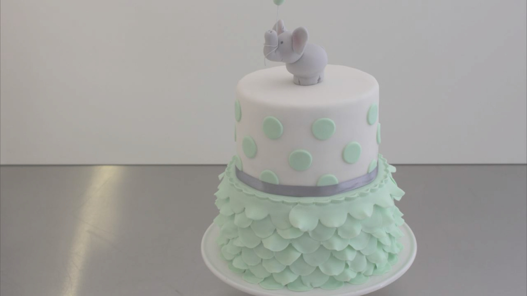 Glamorous Cute & Easy Babyshower Cake With Fondant Ruffles & Gumpaste Elefant with regard to How To Make A Baby Shower Cake