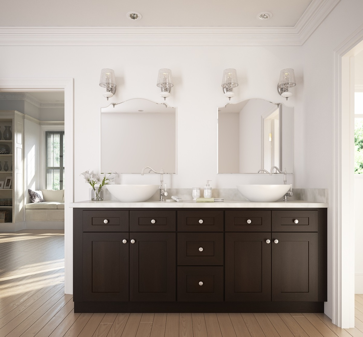 Glamorous Dark Chocolate Shaker - Ready To Assemble Bathroom Vanities with Best of Shaker Bathroom Cabinets