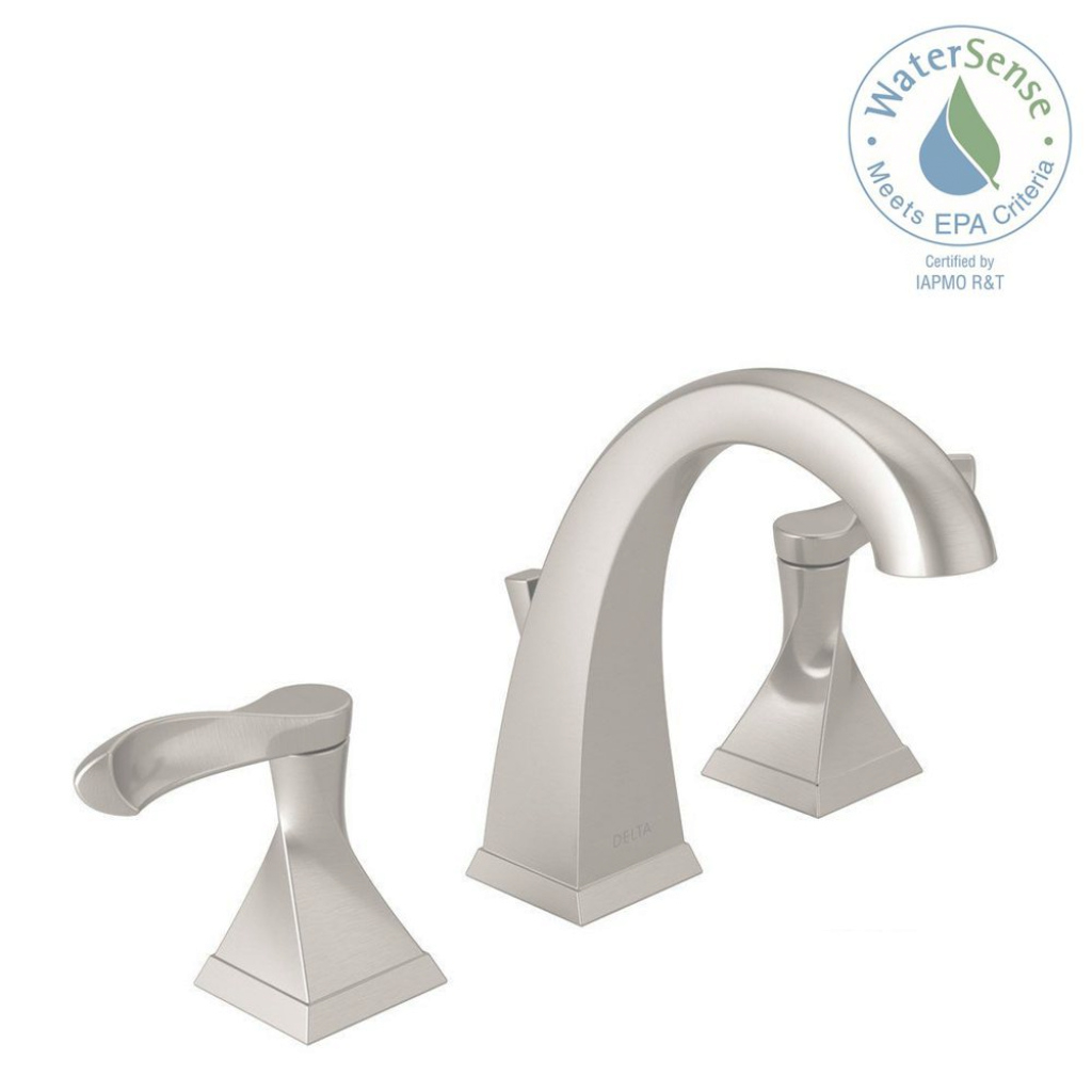 Glamorous Delta Everly 8 In. Widespread 2-Handle Bathroom Faucet In Spotshield in Inspirational Satin Nickel Bathroom Faucet