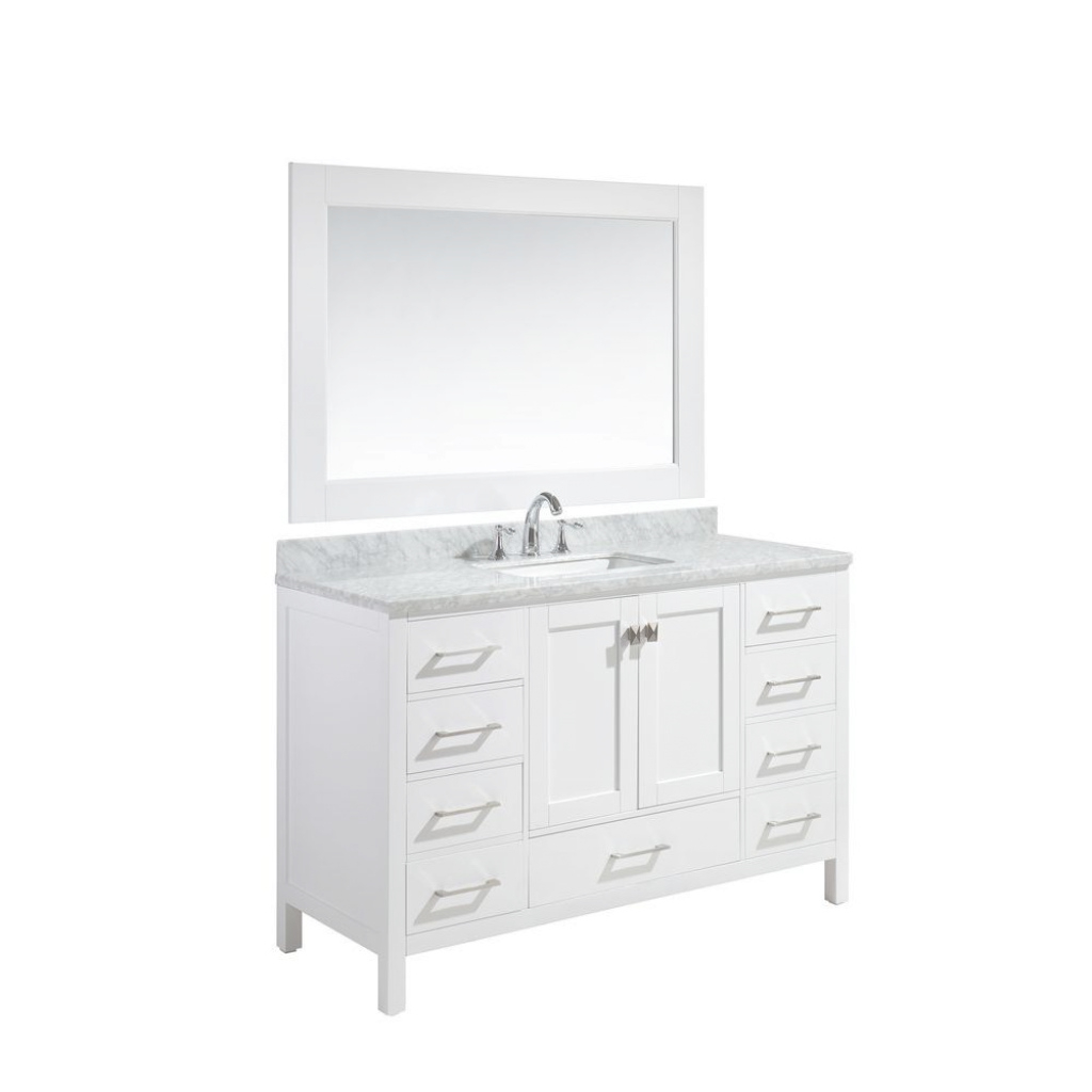 Glamorous Design Element London 54 In. W X 22 In. D X 36 In. H Vanity In White for 54 Bathroom Vanity