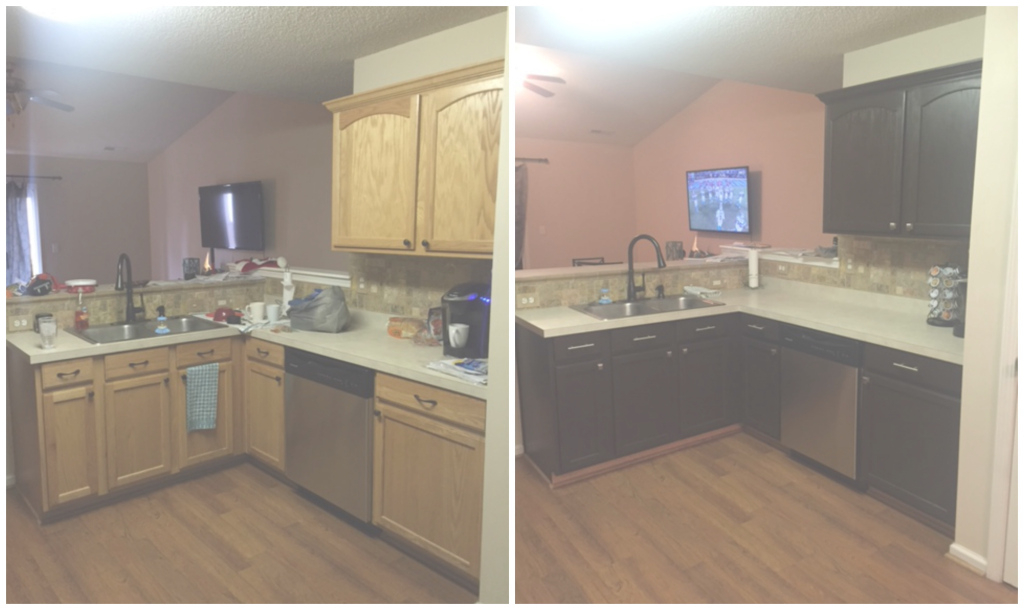 Glamorous Diy Painting Kitchen Cabinets - Before And After Pics! intended for Painted Kitchen Cabinets Before And After