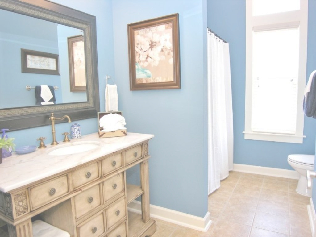 Glamorous Elegant Blue Beach Themed Bathroom Paint Colors With Large Mirror intended for Blue Bathroom Paint