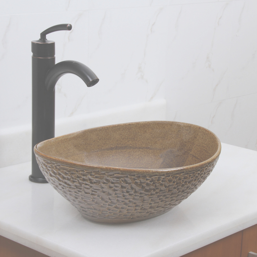 Glamorous Elite 1551 Oval Coffee Brown Glaze Porcelain Ceramic Bathroom Vessel for Bathroom Vessel Sinks
