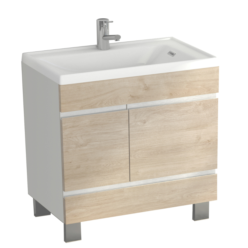 "Glamorous Eviva Petite Plus 24"" White/oak Vanity With Porcelain Sink within Petite Bathroom Vanity"