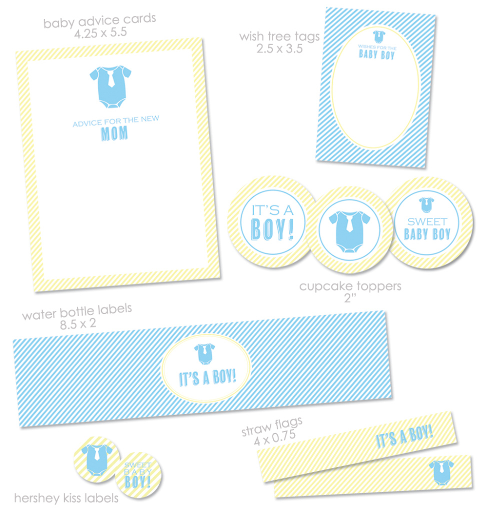 "Glamorous Free ""it's A Boy"" Baby Shower Printables From Green Apple Paperie for Free Printable Baby Shower"