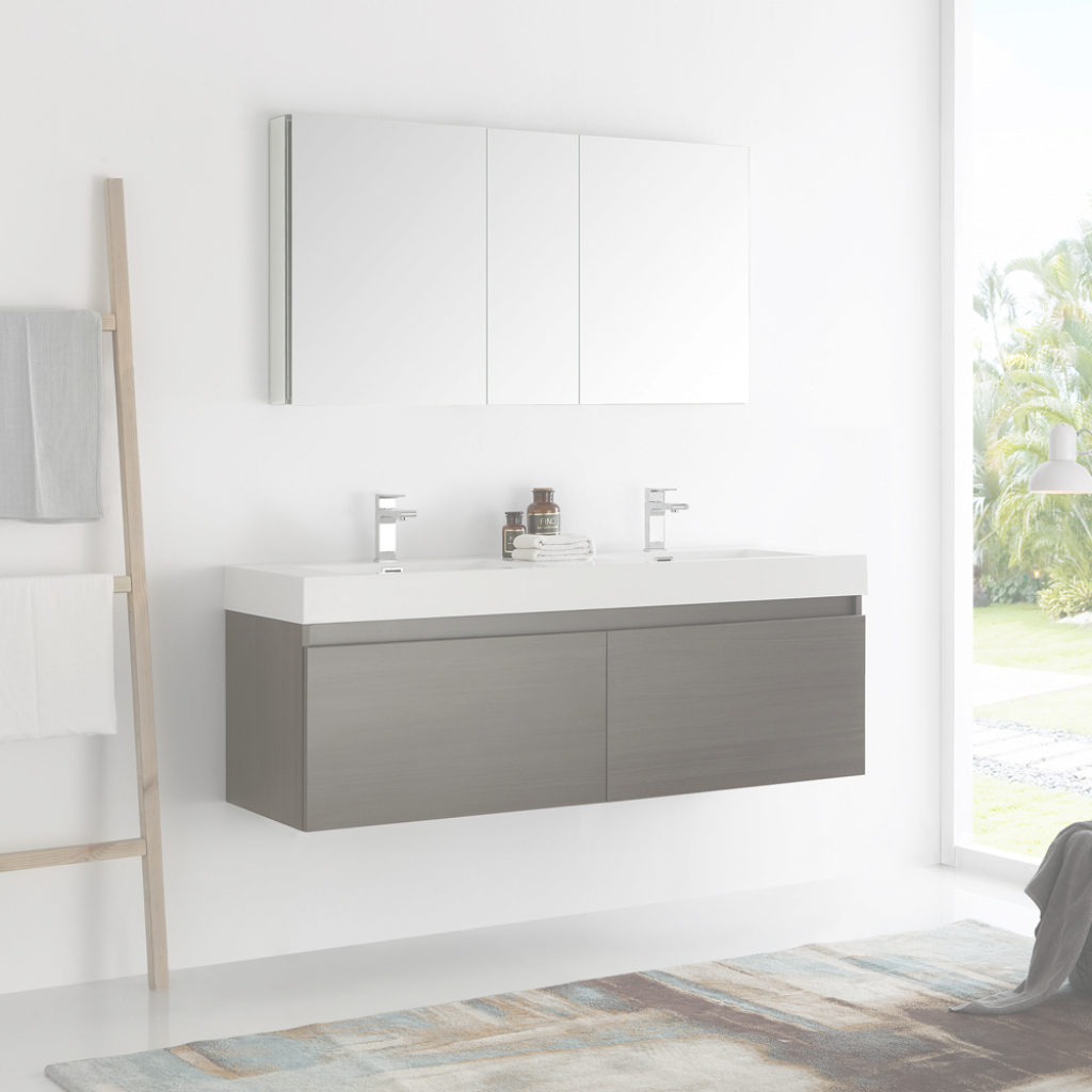 "Glamorous Fresca Mezzo 60"" Gray Oak Wall Hung Double Sink Modern Bathroom throughout Awesome Fresca Bathroom Vanity"